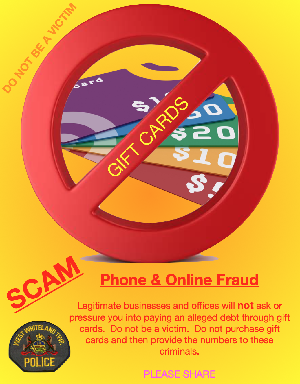 Gift card fraud continues - be smart and do not be a victim